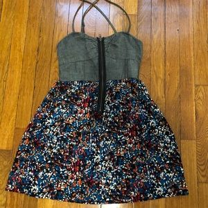 Fitted waist floral zip up dress